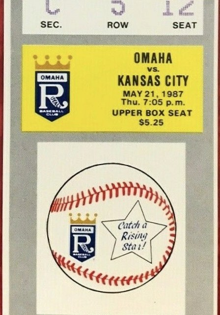 1987 Omaha Royals ticket stub vs Kansas City