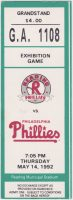 1992 Reading Phillies ticket stub vs MLB Phillies