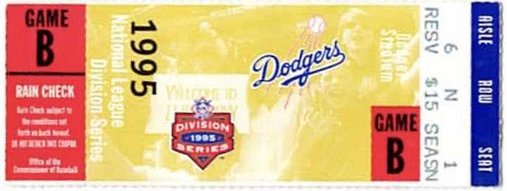 1995 NLDS Game 2 ticket stub Reds vs Dodgers