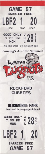 1997 Lansing Lugnuts ticket vs Rockford