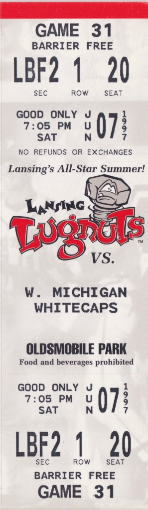 1997 Lansing Lugnuts ticket vs West Michigan