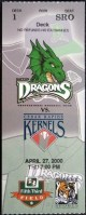 2000 Dayton Dragons inaugural home game ticket stub vs Cedar Rapids