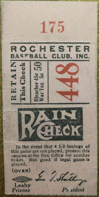 Vintage Rochester Red Wings ticket stub 10.50