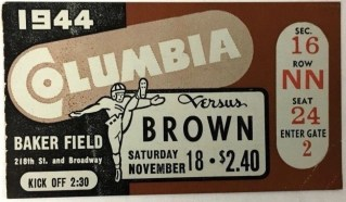 1944 NCAAF Columbia Lions ticket stub vs Brown 50