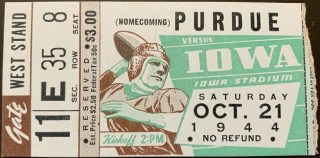 1944 NCAAF Iowa Hawkeyes ticket stub vs Purdue 75