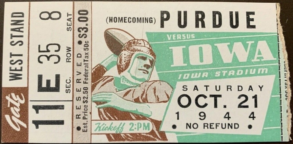 1944 NCAAF Iowa Hawkeyes ticket stub vs Purdue