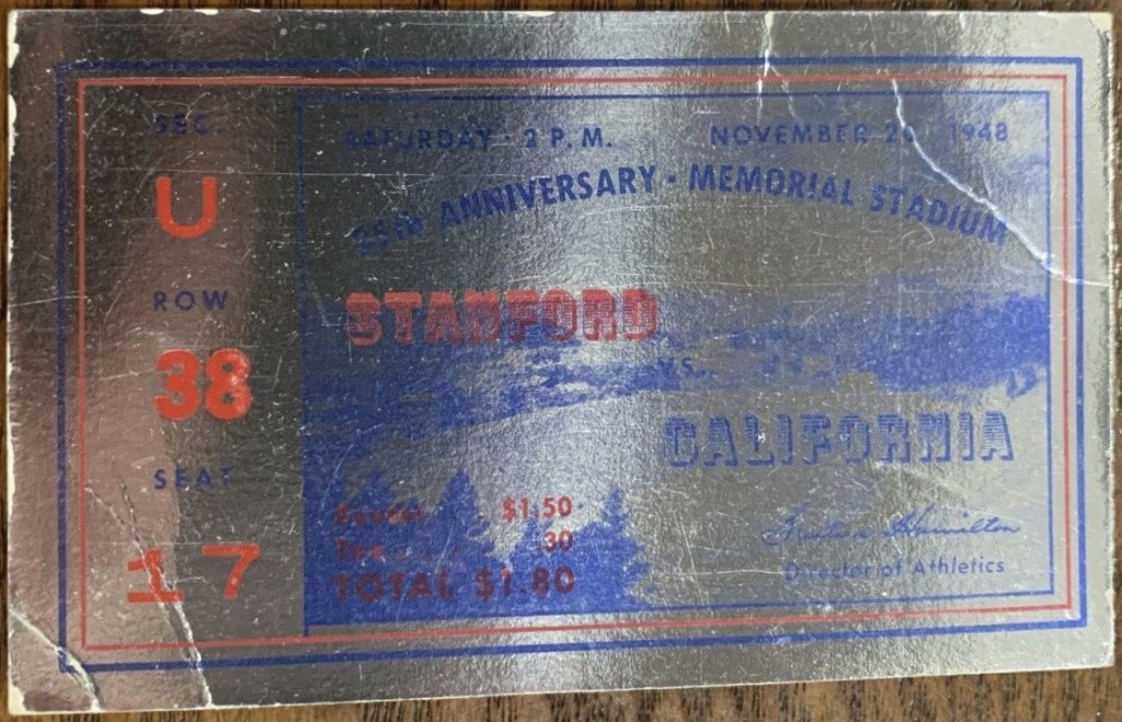 1948 NCAAF California ticket stub vs Stanford