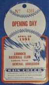 1951 Lubbock Hubbers Opening Day ticket stub vs Clovis