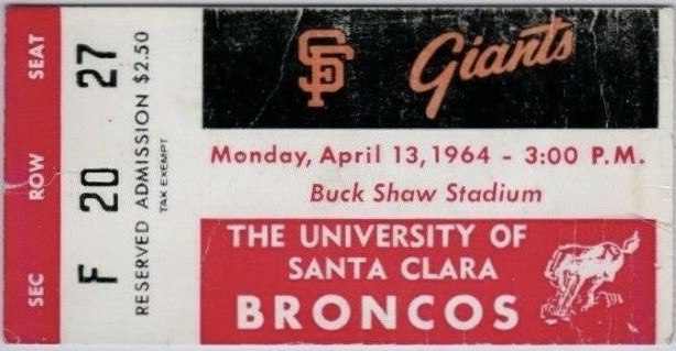 1964 San Francisco Giants Exhibition Game ticket stub vs Santa Clara