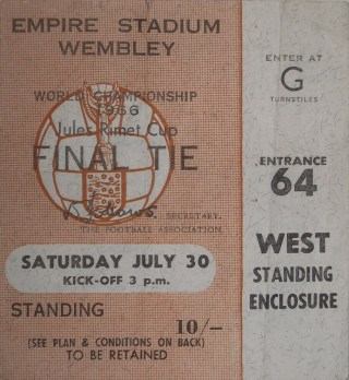 1966 FIFA World Cup Final ticket stub England vs West Germany 208