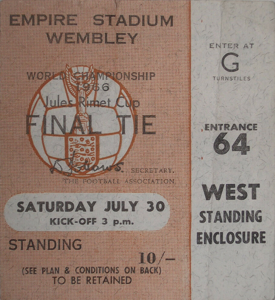 1966 FIFA World Cup Final ticket stub England vs West Germany