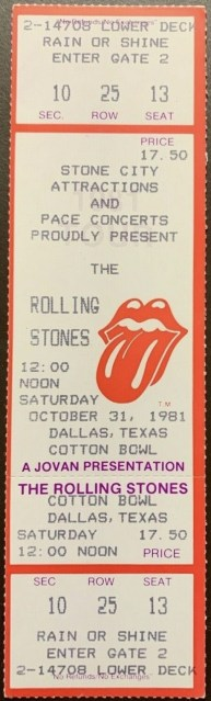 1981 Rolling Stones ticket stub Dallas Cotton Bowl 60