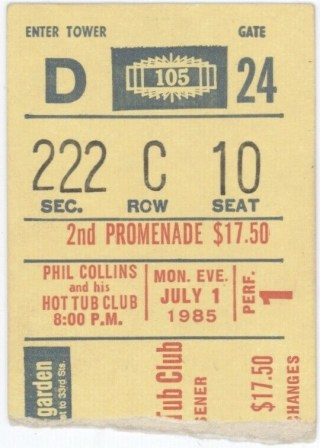 1985 Phil Collins and his Hot Tub Club ticket stub Madison Square Garden