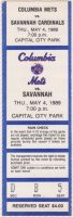 1989 Columbia Mets ticket stub vs Savannah