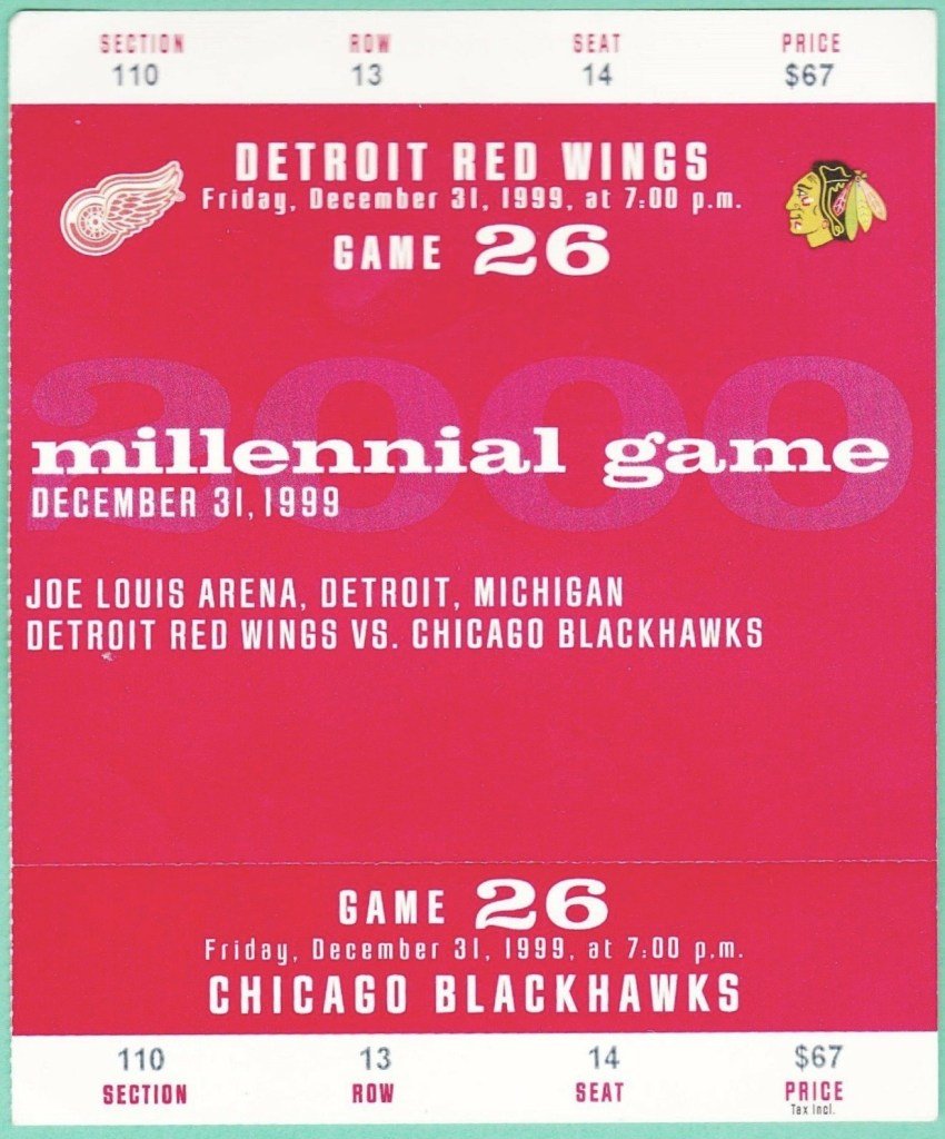 1999 Detroit Red Wings Millennial Eve ticket stub