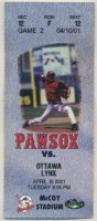 2001 Pawtucket Red Sox ticket stub vs Ottawa