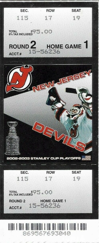 2003 NHL Playoffs New Jersey Devils ticket stub vs Tampa Bay