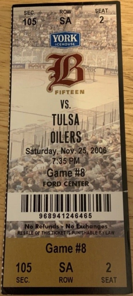 2006 Oklahoma City Barons ticket vs Tulsa