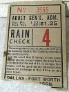 60s Dallas Ft. Worth Rangers baseball ticket stub