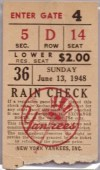 1948 New York Yankees Babe Ruth Day Ticket Stub