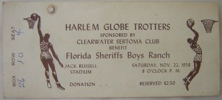 1958 Harlem Globetrotters Clearwater FL ticket stub 250