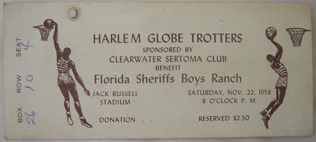 1958 Harlem Globetrotters Clearwater FL ticket stub