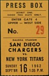 1962 San Diego Chargers ticket stub vs New York Titans