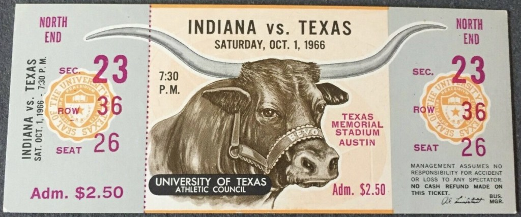 1966 NCAAF Texas Longhorns ticket stub vs Indiana Hoosiers