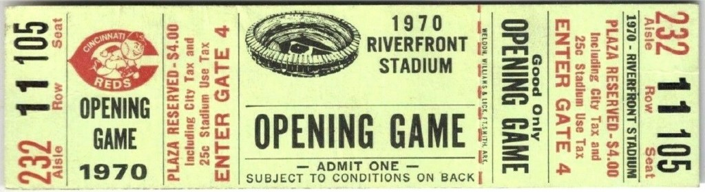 1970 Cincinnati Reds Opening Day Ticket