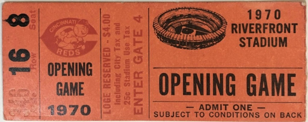 1970 Riverfront Stadium Inaugural Game ticket stub Expos Reds