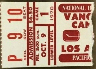 1970 Vancouver Canucks Debut Ticket Stub 195