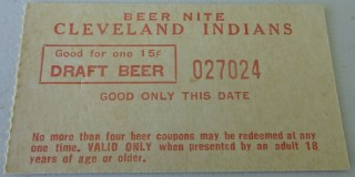 1970's Cleveland Indians Unused 15 cent Draft Beer Nite Ticket 10