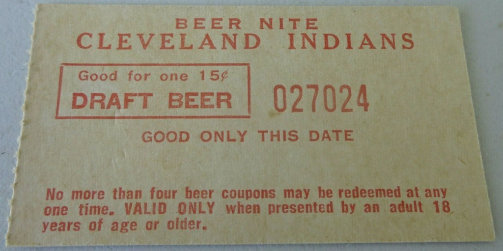 1970s Cleveland Indians Unused 15 cent Draft Beer Nite Ticket