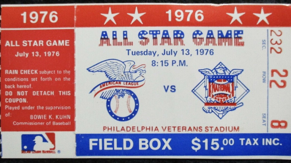 1976 MLB All Star Game ticket stub Philadelphia