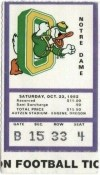 1982 NCAAF Oregon Ducks ticket stub vs Notre Dame