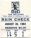 August 30 1984 Maine Guides ticket stub