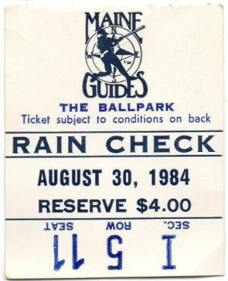 1984 Maine Guides ticket stub