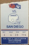 1985 Buffalo Bills Ticket Stub vs San Diego