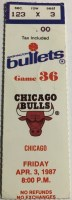 1987 Washington Bullets ticket stub vs Chicago