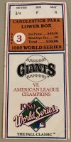 1989 World Series Earthquake Game Ticket Stub
