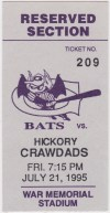 1995 Greensboro Bats ticket vs Hickory