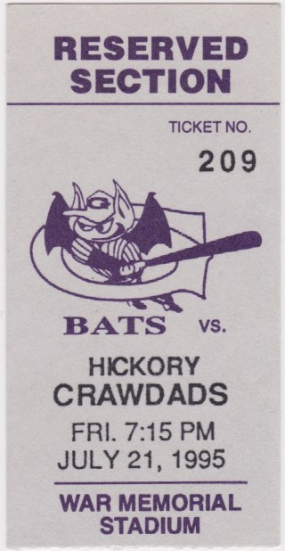 1995 Louisville Bats ticket vs Hickory