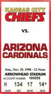 1998 Kansas City Chiefs ticket stub vs Arizona Pat Tillman
