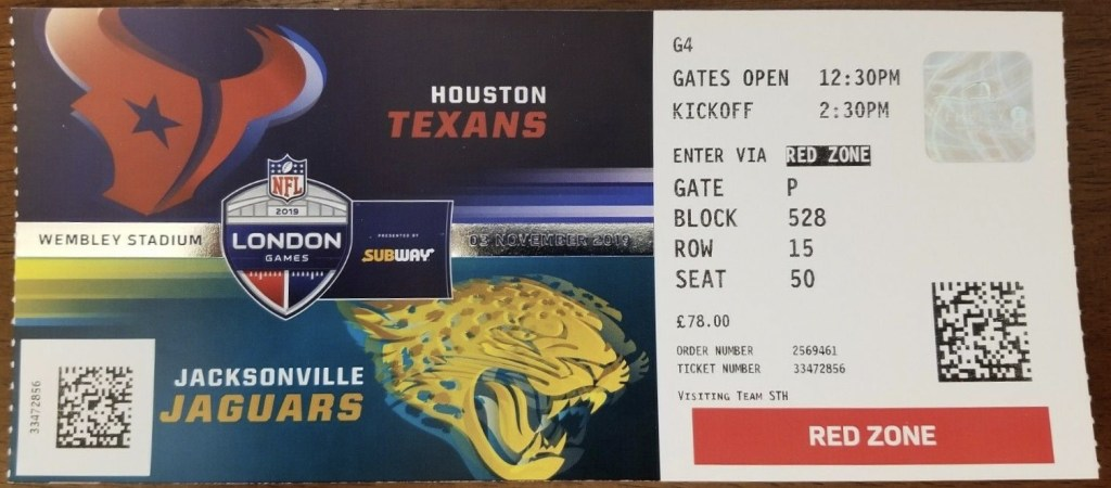 2019 Jacksonville Jaguars vs Houston Texans Wembley ticket stub London