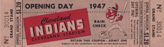 1947 Cleveland Indians Opening Day ticket stub 483