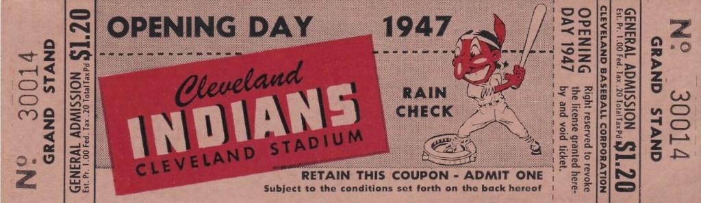 1947 Cleveland Indians Opening Day Full Ticket