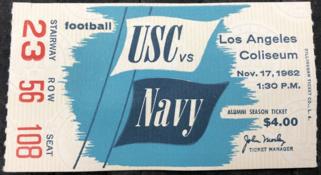 1962 NCAAF USC Trojans ticket stub vs Navy