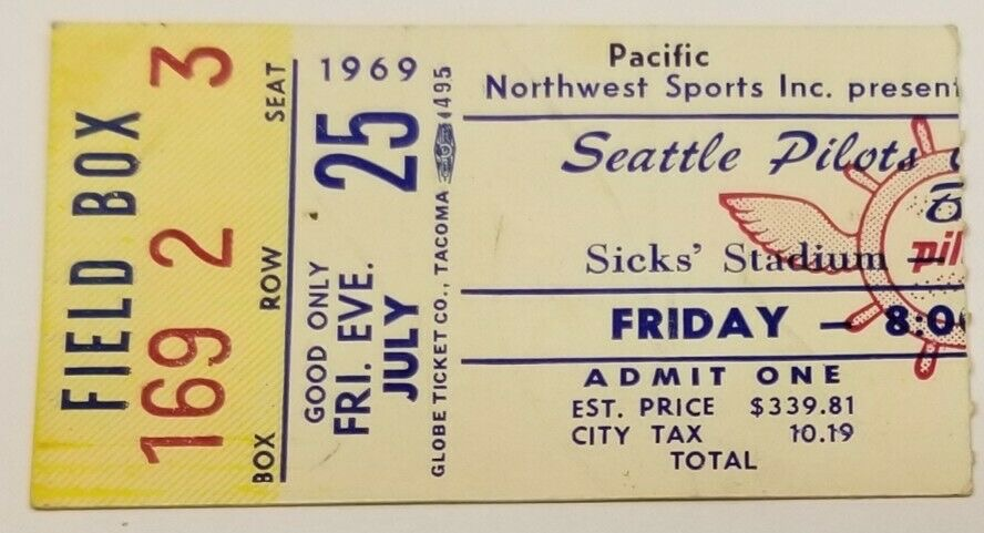 1969 Seattle Pilots ticket stub vs Red Sox