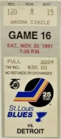 1991 St. Louis Blues ticket stub vs Detroit