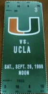 1998 NCAAF Miami Hurricanes ticket stub vs UCLA